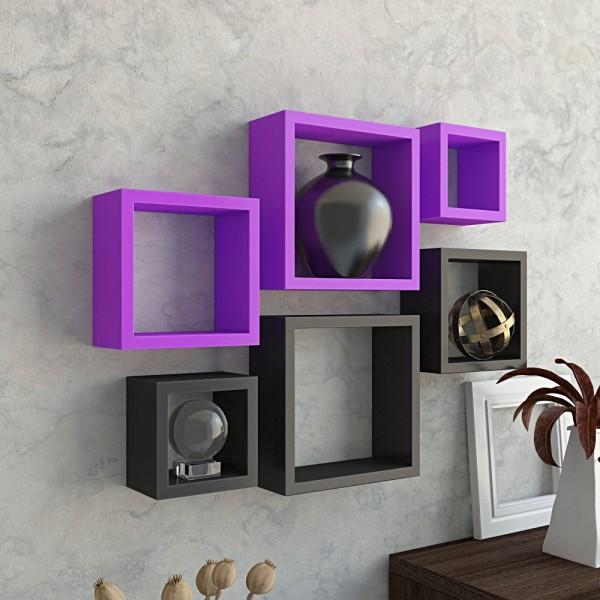 Set Of 6 Nesting Square Wall Shelves Purple Amp Black