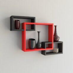 decorative wall racks black red for living room decor
