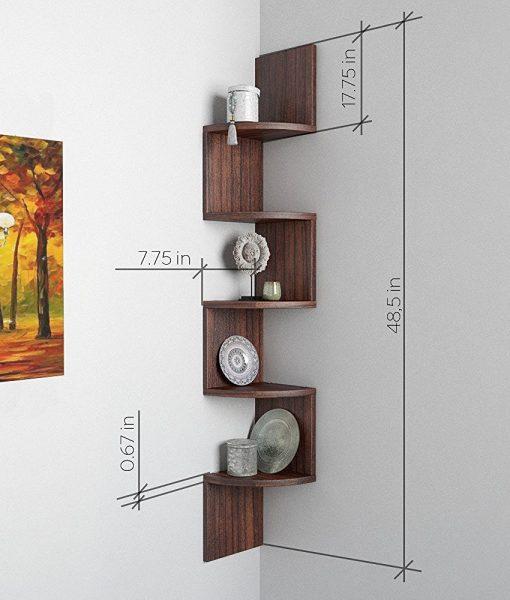 decorative zigzag wall rack unit tectona teak