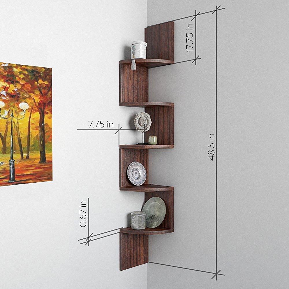 Corner Wall Shelf Zigzag Shape 5 Curved Shelves Tectona Teak