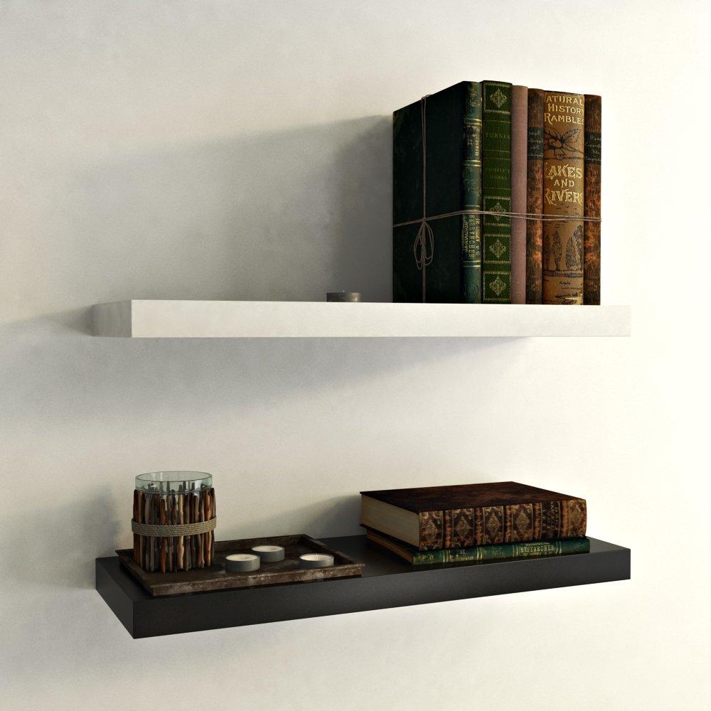 wall shelf set of 2 floating wall rack black white. Black Bedroom Furniture Sets. Home Design Ideas