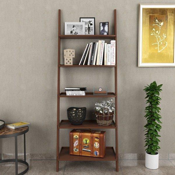 decornation brown single ladder shelf