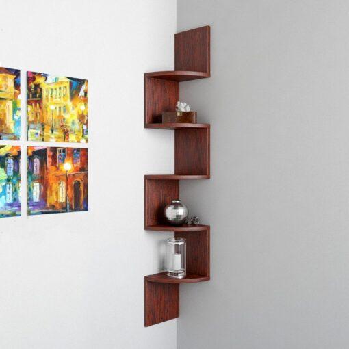 decornation corner zigzag display unit rusty cedar