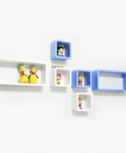 decornation set of 6 skyblue white cube rectangle wall shelves for home decor