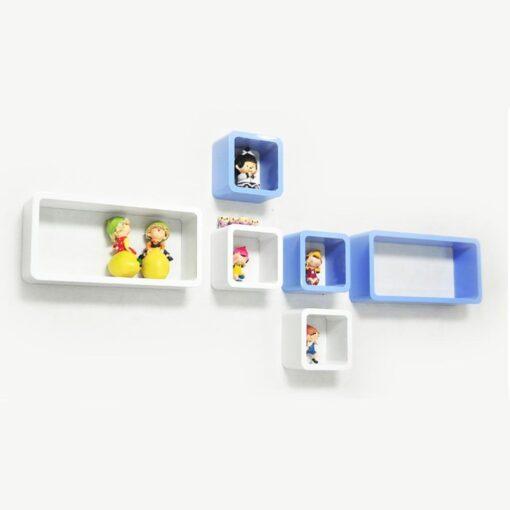 decornation set of 6 skyblue white cube rectangle wall shelves for home decor