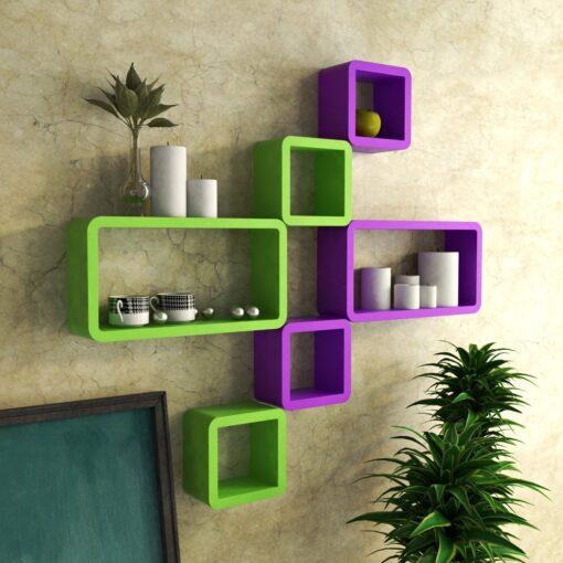 decornation wall shelves for home decor purple green
