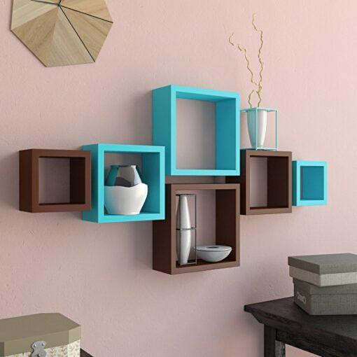 designer brown skyblue wall shelves