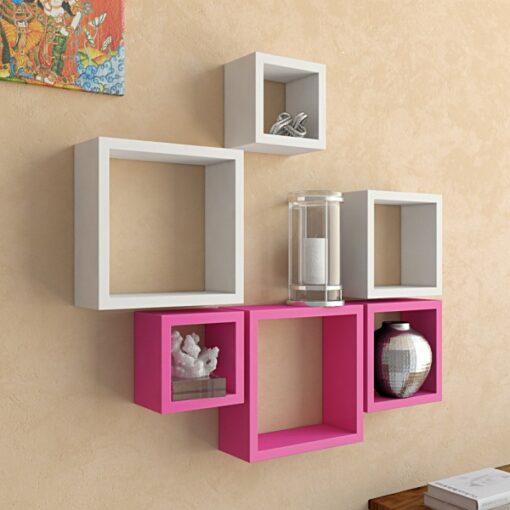 designer white pink nesting square wall rack