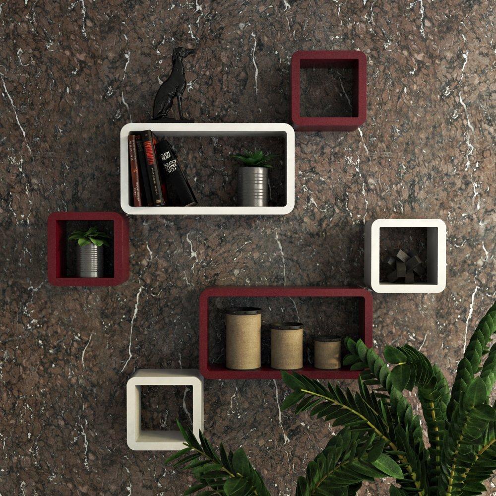 designer 6 wall shelves online for sale maroon white