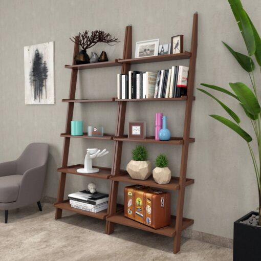 designer brown ladder shelf for storage