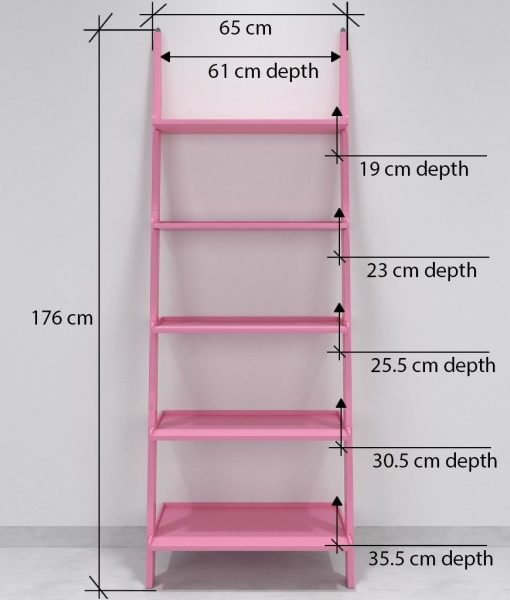 designer pink ladder shelf for storage