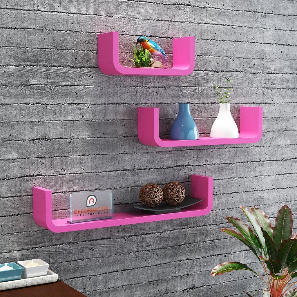 designer pink u shape wall shelves for sale