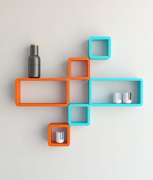 designer wall mounted wall shelves orange skyblue
