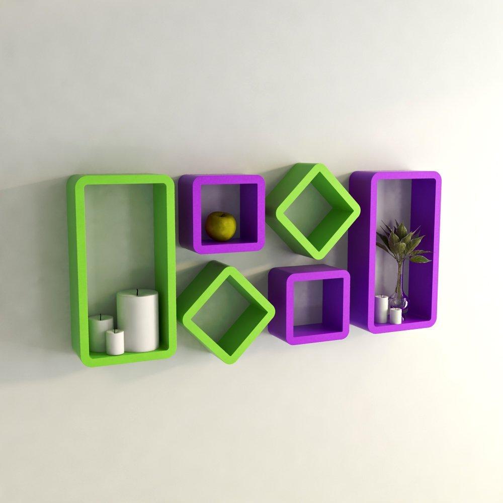 Green And Purple Room Wall Shelf Set Wooden Display Wall Racks Purple And Green