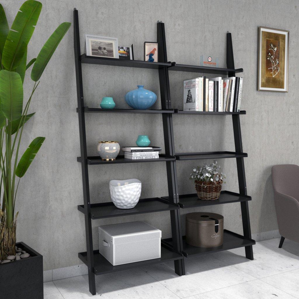 Jasper Leaning Wall Bookcase Set Of 2 Ladder Shelf Black