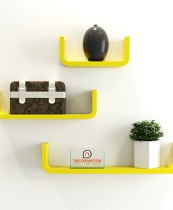 floating u shape round corner wall shelves yellow