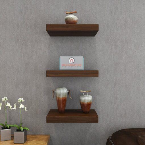 floating wall rack unit rich walnut