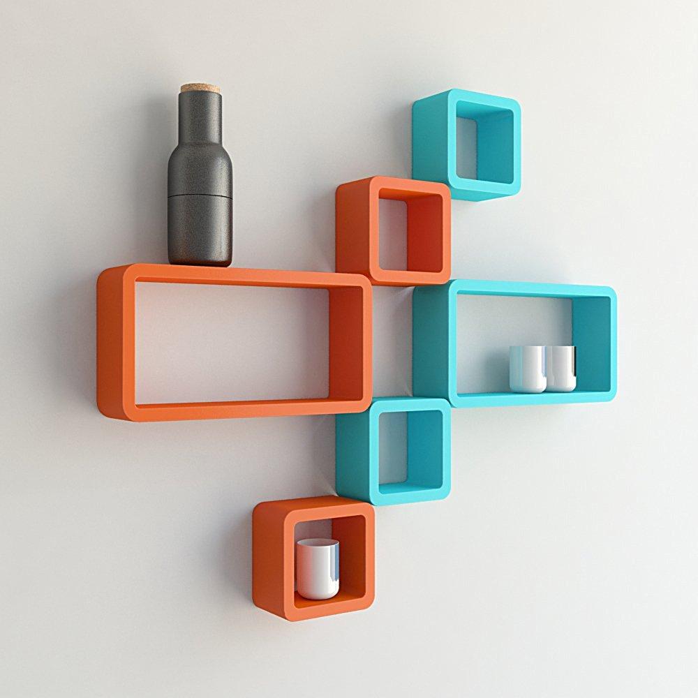 floating wall shelf unit orange skyblue