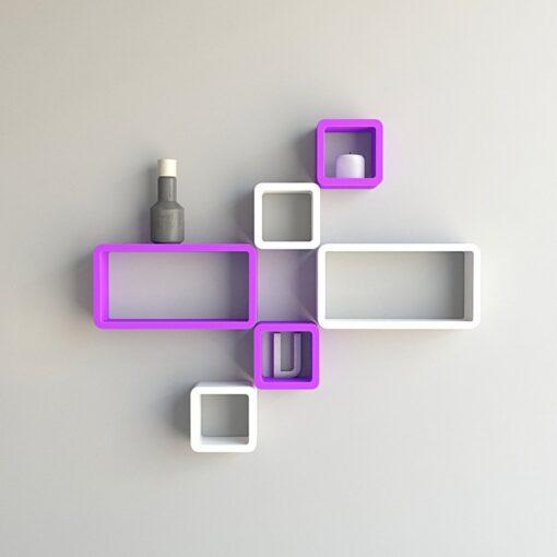 floating wall shelves set of 6 purple white