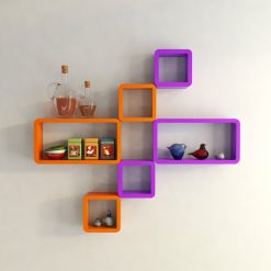 hexagon cube rectangle wall-decor shelves orange purple