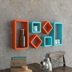 home decor wall racks set of six orange skyblue
