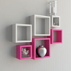 home decor white pink wall shelves