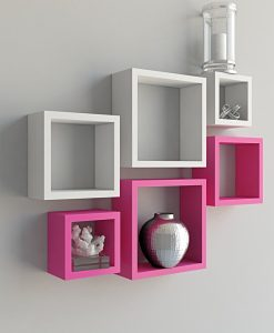 home decor white pink wall shelves