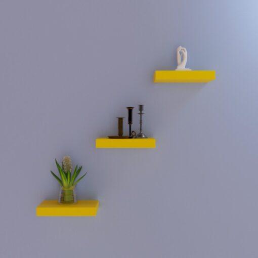 living room decor shelves yellow