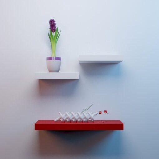 livingroom furniture wall shelves white red