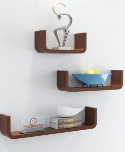 low price decorative wall shelves brown color