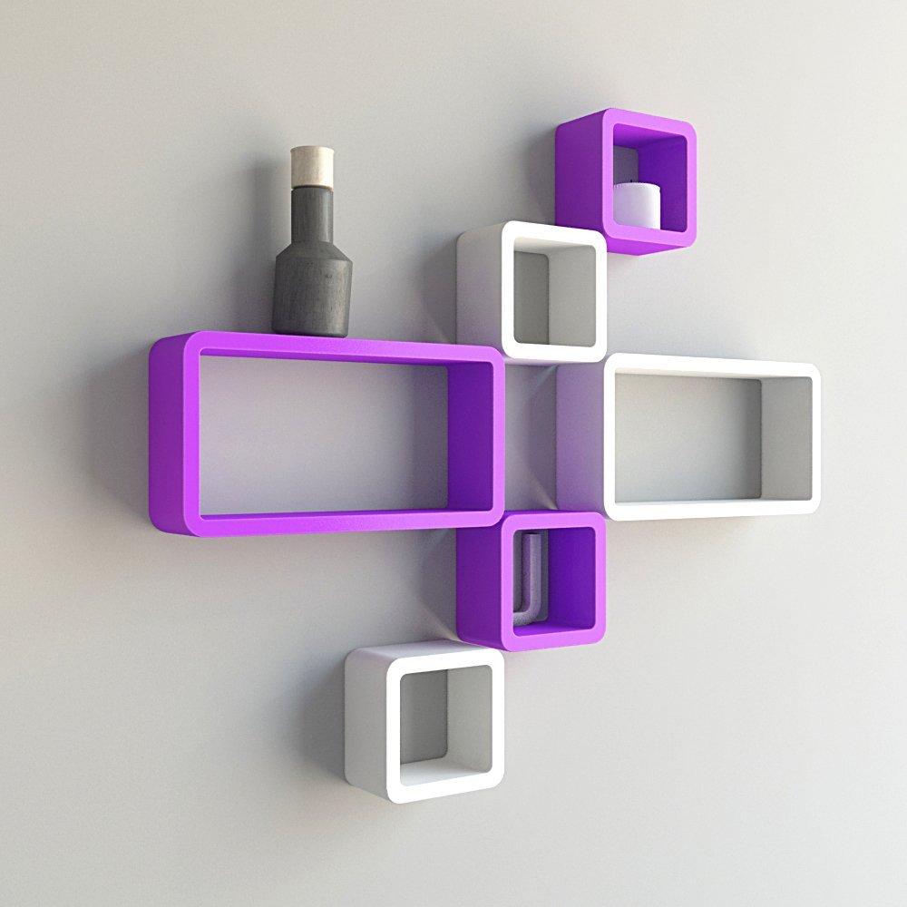 mounted wall shelves set of 6 purple white