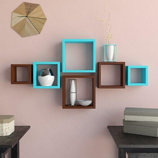 nesting square set of 6 wall shelf brown skyblue