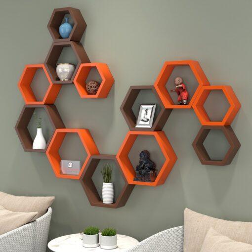 orange brown 12 hexagon shelves for home decor