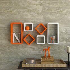 orange white wall shelf units for storage