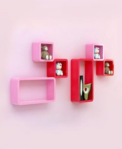 pink red wall shelf unit for room decor
