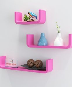 pink stylish u round corner wall racks