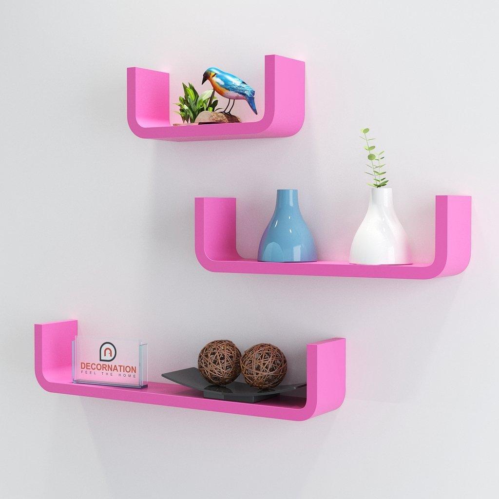 pink stylish u round corner wall racks