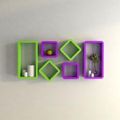 purple green decorative wall shelves for wall decor