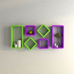 purple green decorative wall shelves for wall decor