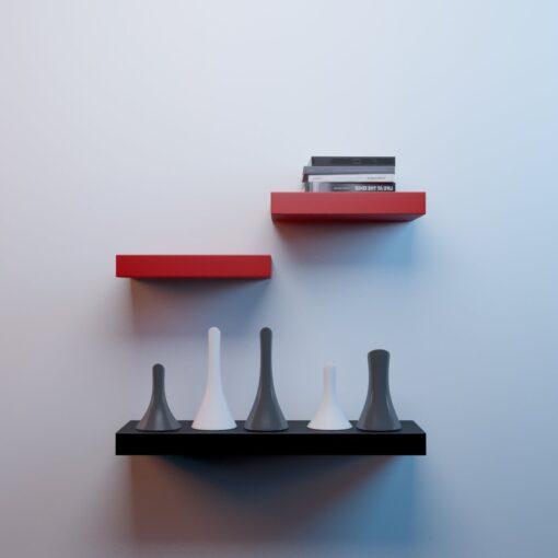 red black wall decor shelves