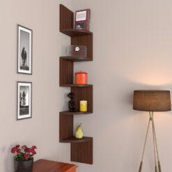 rich walnut zigzag display unit