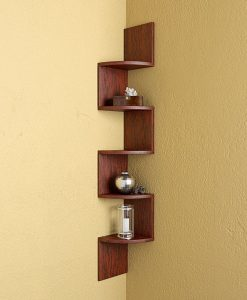 rusty cedar zigzag wall shelves for storage
