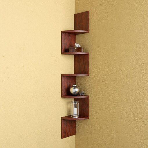rusty cedar zigzag wall shelves for storage