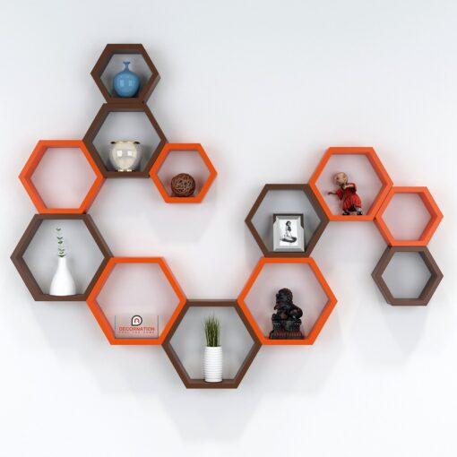 set of 12 decorative display units orange brown