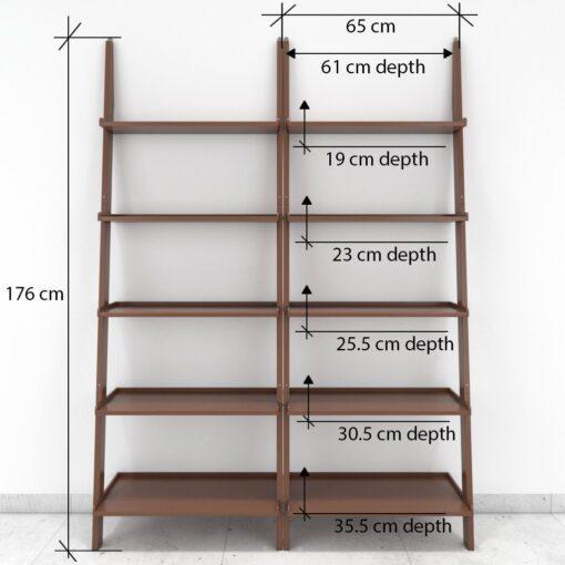 set of 2 ladder shelf brown for home decor