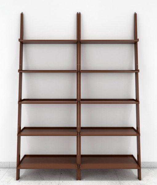 set of 2 modern contemporary ladder shelf brown