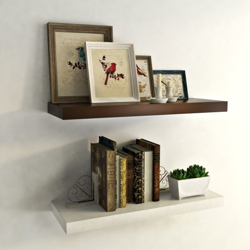 set of 2 wall shelf rack units brown white