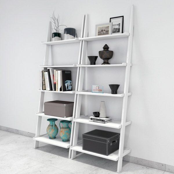 set of 2 white contemporary ladder book shelf