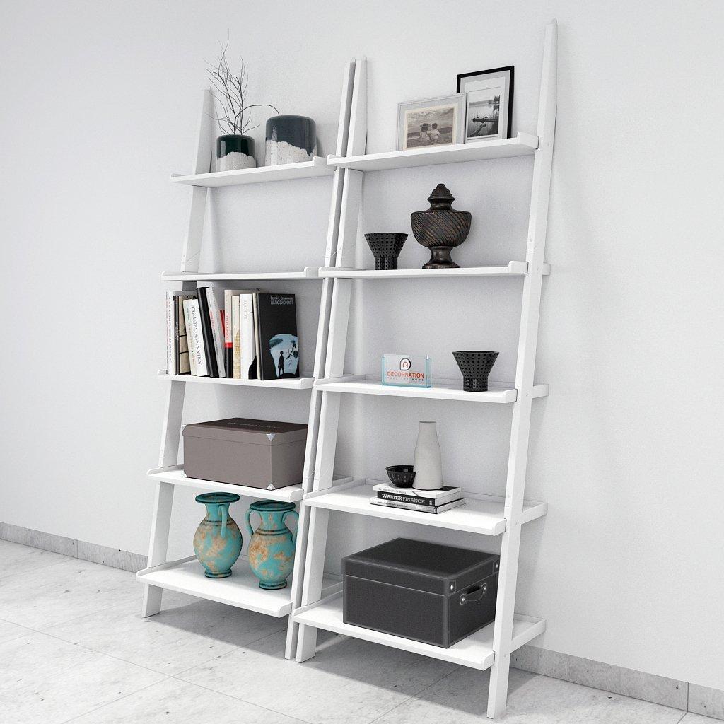 Jasper Leaning Wall Bookcase Set Of 2 Ladder Shelf White