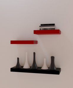 set of 3 red black wall racks unit